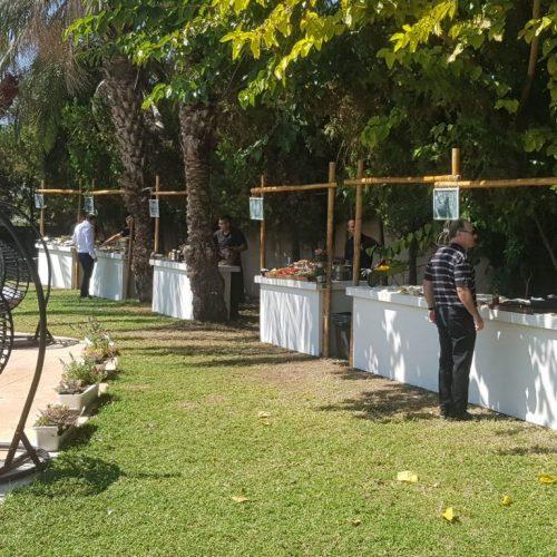 דוכני מזון על ספת בריכה מתוך אירוע יום הולדת בוילה