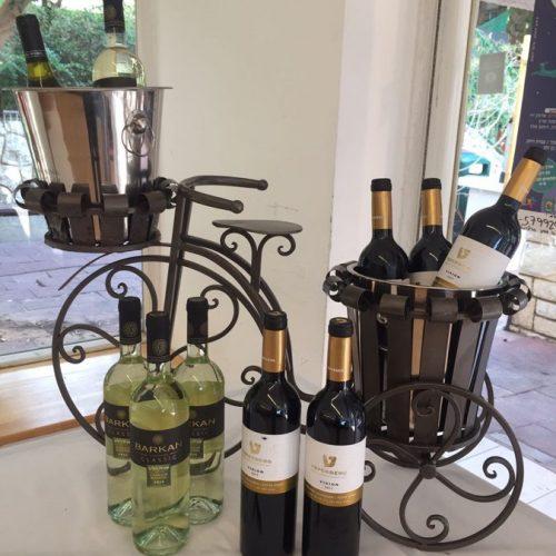 בקבוקי יין אדום ולבן באירוע של מכבי דנט